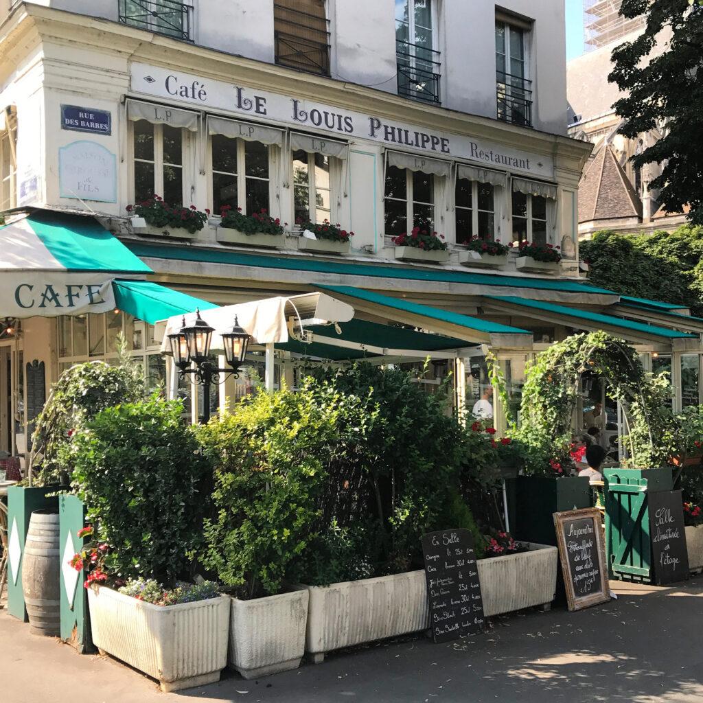 Paris terracces Cafe Le Louis Philippe